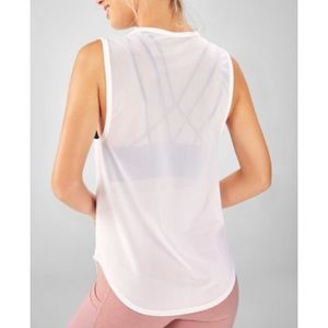 M Fabletics White Trisha Mesh Tank Top